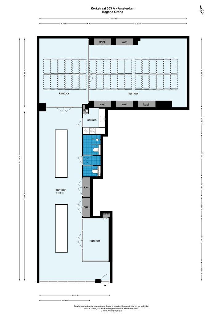 Amsterdam – Kerkstraat 303A – Plattegrond 2